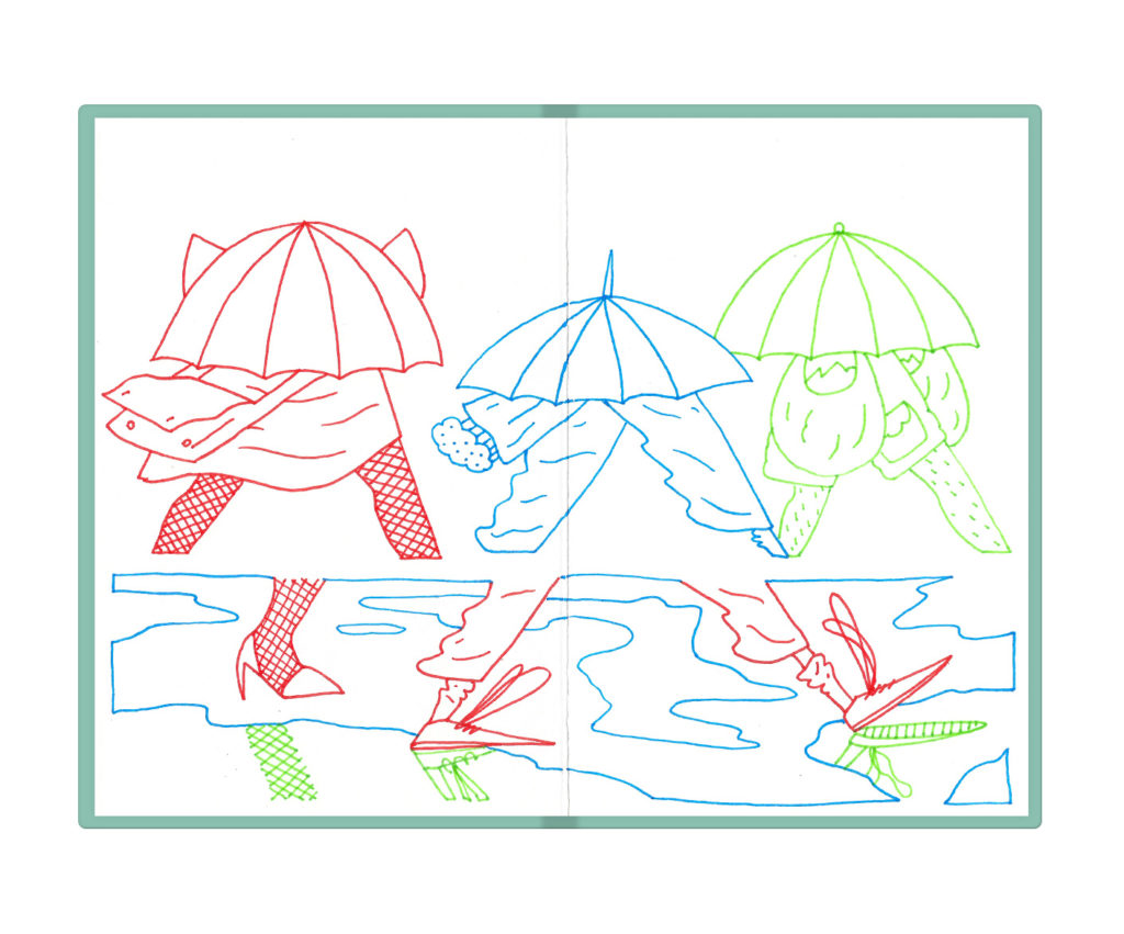 people walking in rain over puddles with umbrellas up
