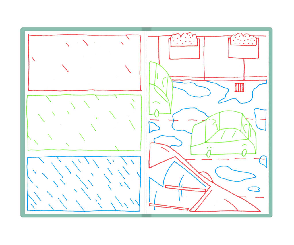 comic strip about rain starting and cards driving over puddles