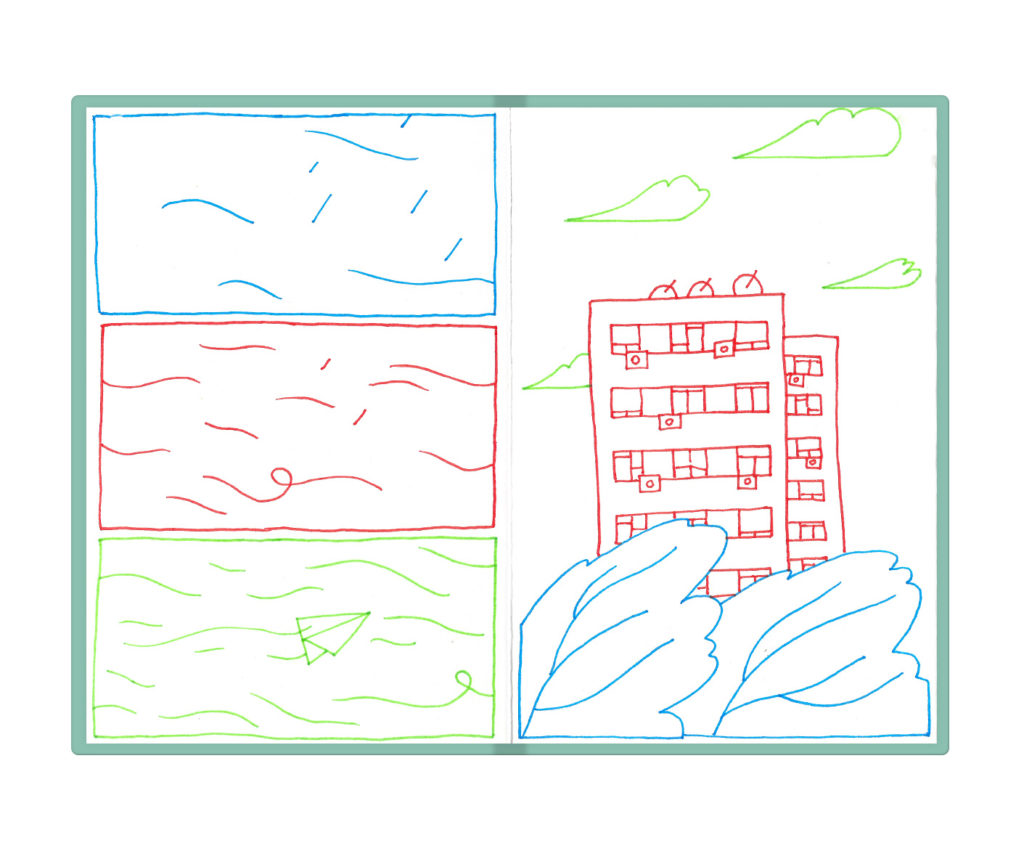 comic strip about the wind in the city