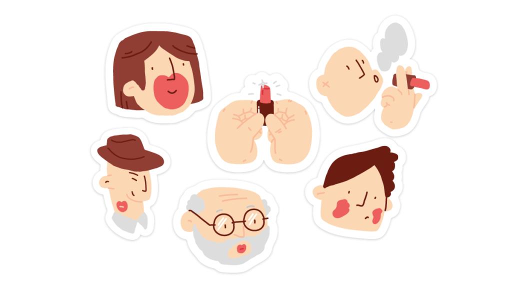 stickers of people enjoying lipstick for Make it Pop