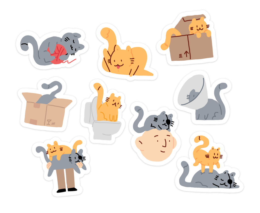 stickers of cute weird cats for Make it Pop