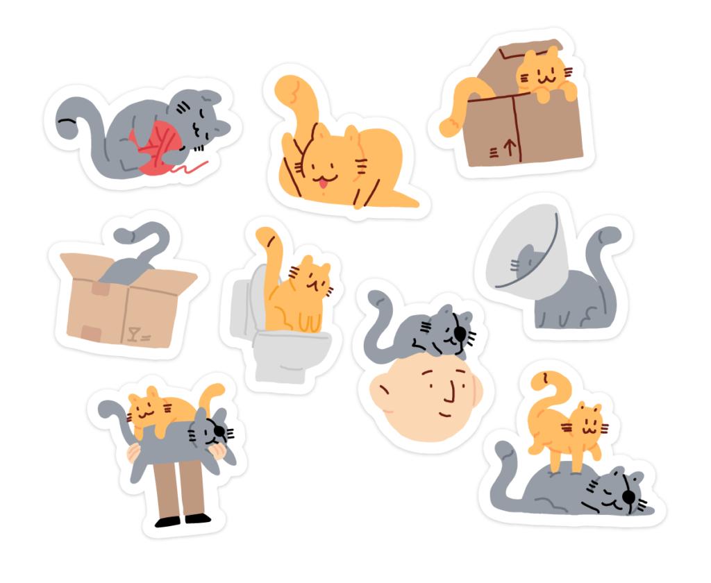 stickers of cute weird cats for Make it Pop