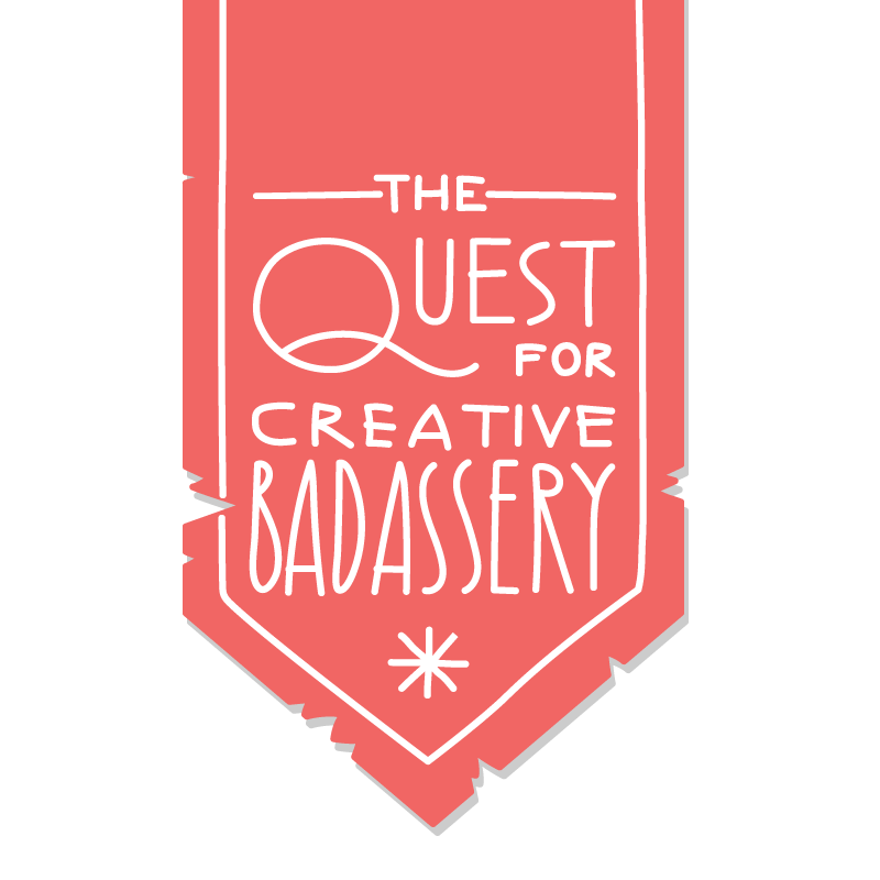 "Banner logo for ""The Quest for Creative Badassery"""