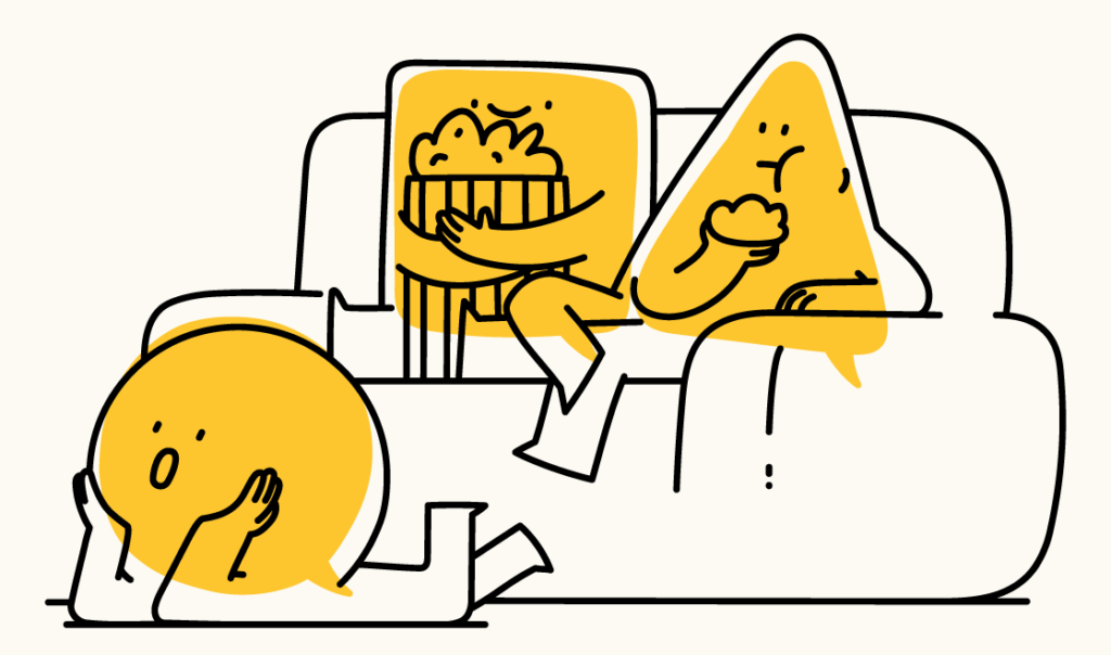 Hero section illustration with characters sitting on couch, eating popcorns watching movie.