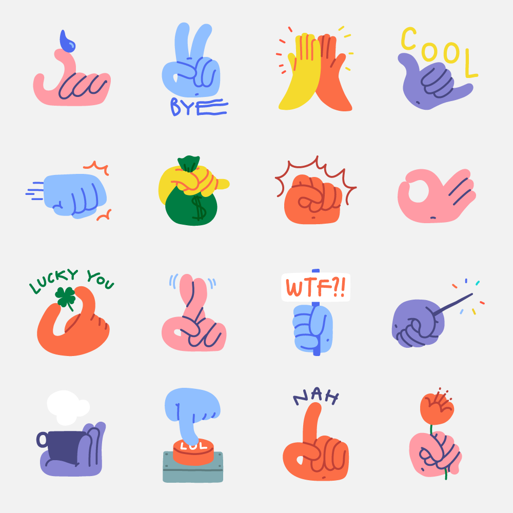 Stickers from Handy Hands sticker pack for Snapchat app.